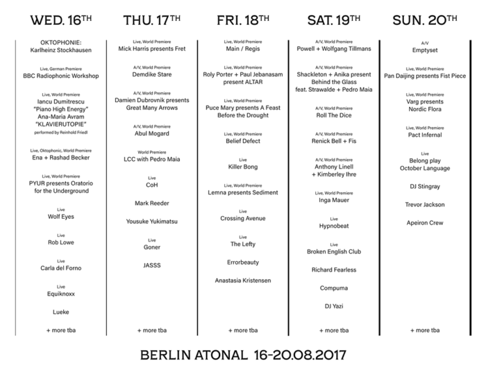 Berlin Atonal enriches its 2017 line-up - HOUSE of Frankie